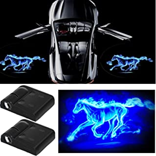 3D Wireless Magnetic Car Door Step LED Welcome Logo Shadow Ghost Light Laser Projector Lamp (Blue Horse)
