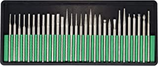 Toolman 30PC Titanium-Coated Diamond Burr Set Glass Drill Bit Grit For Engraving Carving Rotary Tools Universal Fitment QTH017