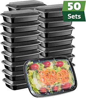 [50 Sets] Meal Prep Containers With Lids, 1 Compartment Lunch Containers, Bento Boxes, Food Storage Containers - 28 oz.