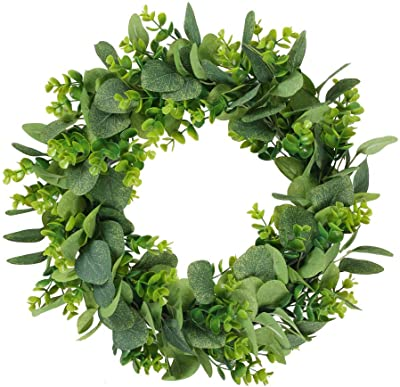 HUAESIN 17 Inch Spring Front Door Wreath Eucalyptus Leaves Silver Dollar Greenery Wreath Outdoor Farmhouse Garland Plastic Wreath for Wedding Wall Hanging Window Party Decoration