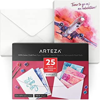 $21 » Arteza Blank Watercolor Cards with Envelopes, 5x6.875 Inches, Set of 25, Heavyweight, 140 lb, 100% Cotton Watercolor Postc...