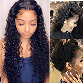 Suerkeep Brazilian Deep Curly Human Hair Wigs Lace Front Wigs Pre Plucked Lace Wigs Human Hair Deep Wave Lace Frontal Wigs with Baby Hair 24inch Uprocessed Virgin Brazilian Wigs for Black Women