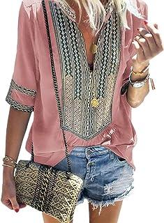 6ceb9872 XXXITICAT Women's Boho Embroidery Large Size T-Shirt Bohemian Tribal Ethnic  Style Striped V-