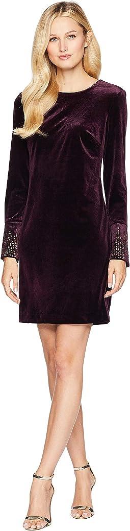 Velvet Dress with Embellishment At Sleeve CD8V19TL