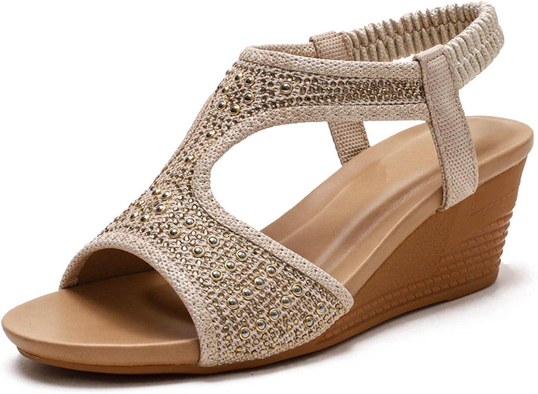 DaVanck Summer Bohemian Women's Flat Trust Slope Many popular brands Mid- Heel 5cm Sandals