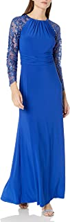 Marina Women's Long Jersey with Embroidered Lace Dress
