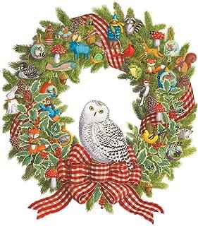 Caspari Snowy Owl Wreath Advent Calendar - 1 Each