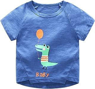 Ian&Sophia Baby Boy's Toddler Kids Cute Dino Alligator Marine Ship Motif Print Short Sleeve Tee T-Shirt