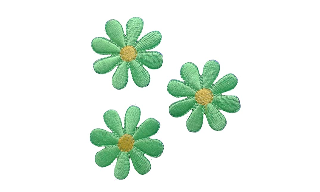 3 pieces Green FLOWER Iron On Patch Fabric Applique Motif Children Decal 1.8 x 1.8 inches (4.5 x 4.5 cm)
