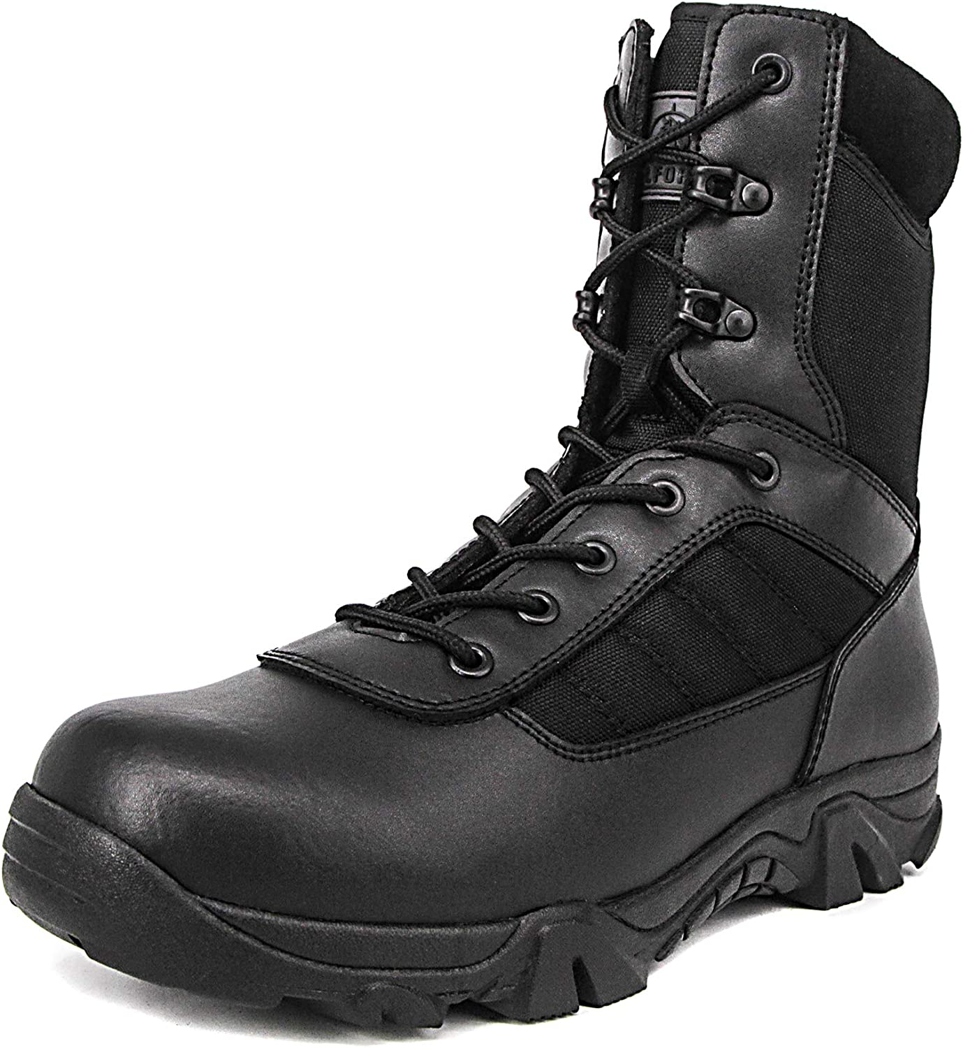 Milforce Men's 8 Inch Military Tactical Boots Combat Desert Duty Work shoes with Side Zipper