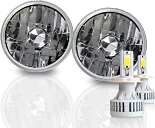 5.75 Inch Round Sealed Beam Headlight Conversion - fits H5001 H5006 - Clear Glass Diamond Cut Housing + H4 LED Kit 6000K Cool White 8000 LM