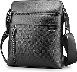 SPAHER Messenger Business Bag Men Leather Shoulder Bag Ipad Crossbody Tote Satchel Sling Travel Bag Handbag Tablet Case fo...