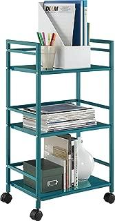 Ameriwood Home Marshall 3-Shelf Metal Rolling Utility Cart, Teal