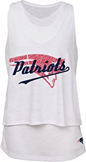 NFL Junior Girls Double Tier Layered Tank Top, New England Patriots, White, L(11-13)