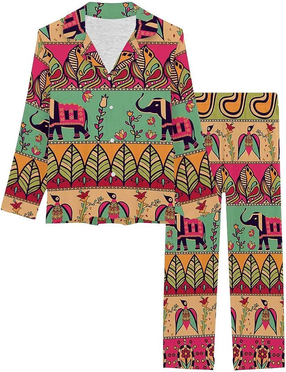 InterestPrint Women's Nightwear Notch Collar Loungewear with Long Pants Bohemian Style