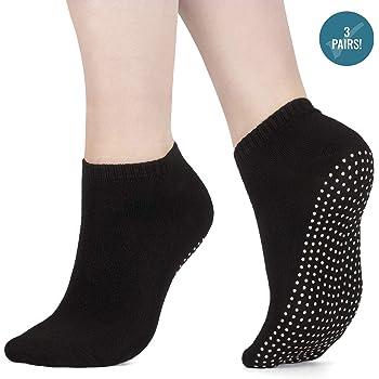 ZNME66 5 Paires de Chaussettes antid/érapantes en Coton pour Grip Socks Yoga Pilates,Exercice Sport Femme