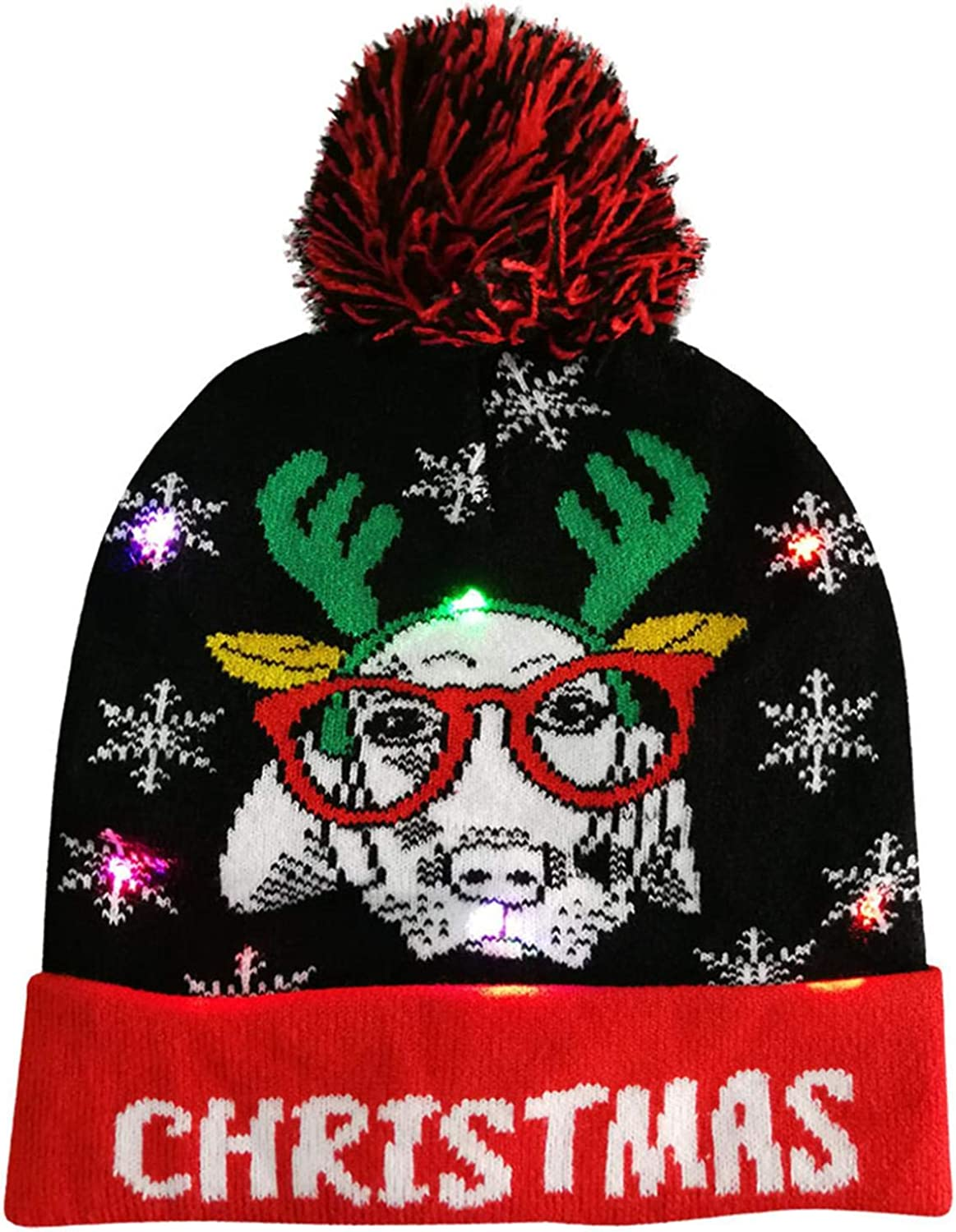 Women Men Beanie Hat LED Light-up Xmas Cap Winter Knit Slouchy Warm Light Up Christmas Hat Fashion Sweater Holiday Party Hat