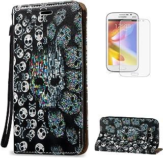 KaseHome Compatible For Samsung Galaxy Grand Neo Plus i9060/i9082 Wallet Funda PU Leather Cuero Piel Caso Función De Soporte Billetera con Tapa Libro Tarjetas del Protector -Cráneo