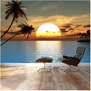 wall26 - Large Wall Mural - Beautiful Tropical Scenery/Landscape Palm Trees on The Beach at Sunset | Self-Adhesive Vinyl Wallpaper/Removable Modern Decorating Wall Art - 100