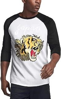 Men's t Shirts Ink Painting Tiger O-Neck 3/4 Sleeve RaglanTee Shirt