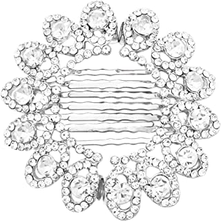 Rosemarie & Jubalee Women's Glass Crystal Hairpiece Magnetic Circle Design Hair Combs