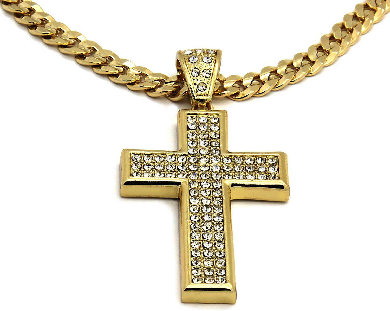 Mens Gold Tone Medium Flat Cross Pendant with 30