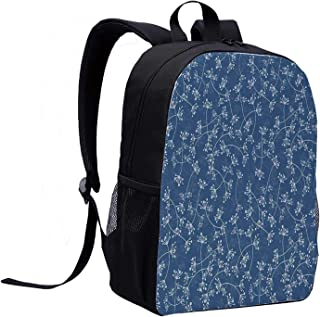 Floral College Backpack,Nature Elegance Featured Twiggy Plants Petals Spring Fashion Design for Picnic,12″L x 5″W x 17″H