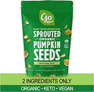 Go Raw Pumpkin Seeds with Sea Salt, Sprouted & Organic, 1 lb. Bag | Keto | Vegan | Gluten Free Snacks | Superfood