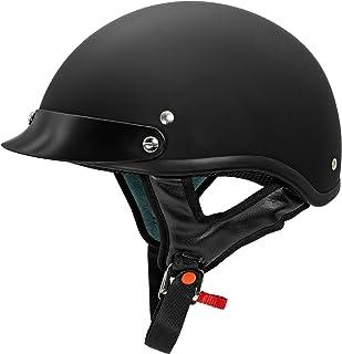 shyvana Motorradhelm Leder-Motorrad-Helm-dot-halber Helm mit Drop Down Sun-Objektiv for Cruiser Street-Bike-M/änner und Frauen Color : Black