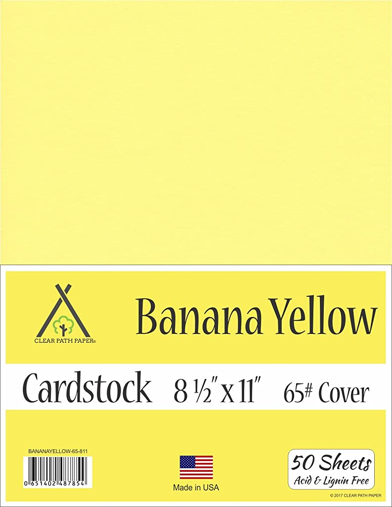 Banana Yellow Cardstock - 8.5 x 11 inch - 65Lb Cover - 50 Sheets