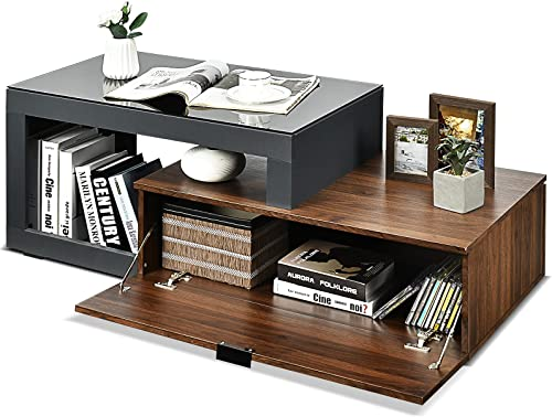 """lowest Giantex Coffee Table, Modern Cocktail Table with popular Glass Top & Storage Compartment, 2-Tier Rectangular Wood Center Table with Shelf, high quality 47.5"""" Tea Table for Living Room Office, Rustic Brown & Black online sale"""