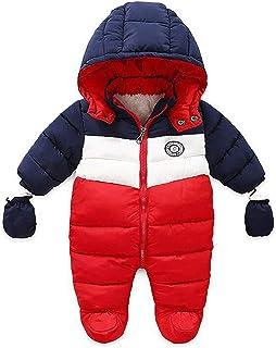 RUIMING Newborn Baby Snowsuit Infant Winter Coat Hooded Zipper Jumpsuit Outwear Footed Romper