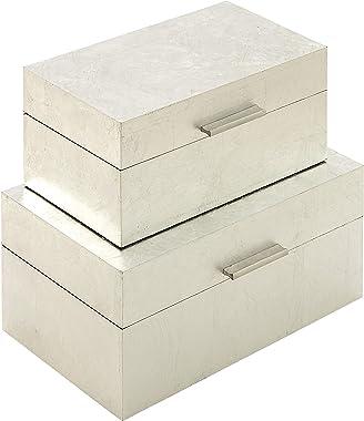 "CosmoLiving by Cosmopolitan 56666 Large Rectangular Glam Metallic Silver Leaf Decorative Boxes   Set of 2: 13"" x 7"", 11"" x 6"""