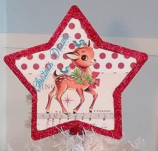 Handmade Vintage Inspired Retro Reindeer Christmas Tree Topper
