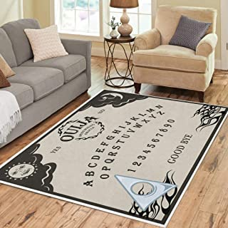 Pinbeam Area Rug Beige of Ouija Board Planchette Can Be Moved Home Decor Floor Rug 5' x 7' Carpet