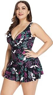Plus Size Swimdress for Women Deep V-Neck Tummy Control Design one-Piece Swimsuit
