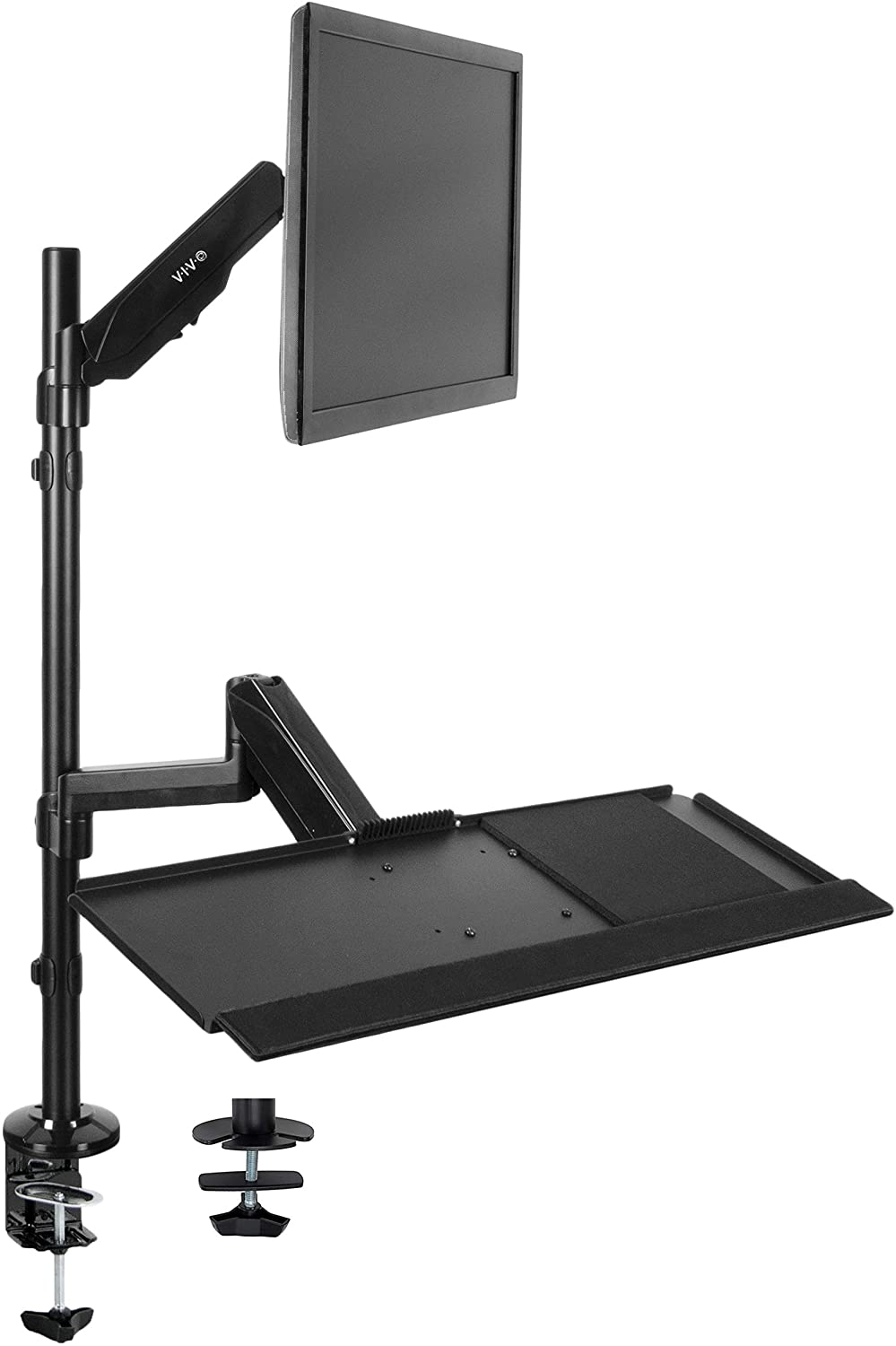 VIVO Sit-Stand Height Adjustable Pneumatic Spring Arm Keyboard Tray Desk Mount for 1 Screen up to 32 inches STAND-SIT1B