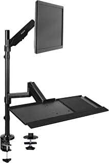 VIVO Sit-Stand Height Adjustable Pneumatic Spring Arm Keyboard Tray Desk Mount for 1 Screen up to 32 inches (STAND-SIT1B)