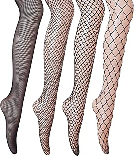Fishnet Tights, Gvoo 4 Styles Sexy Tights for Ladies Fancy Dress Costume – Black