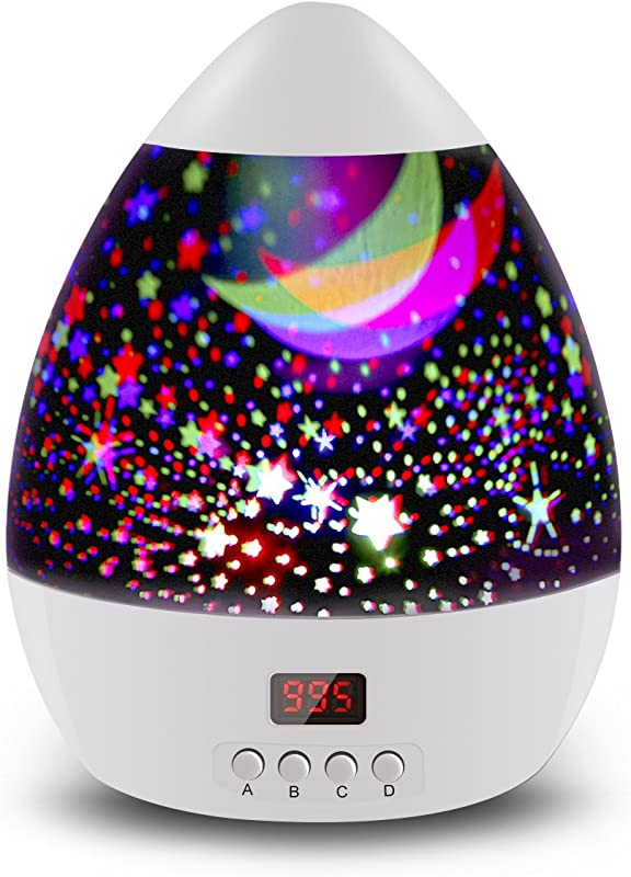 Star Sky Night Lamp ANTEQI Baby Lights 360 Degree Romantic Room Rotating Cosmos Star Projector With LED Timer Auto Shut Off For Kid Bedroom Christmas Gift White