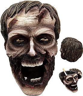 Ebros Walking Dead Severed Zombie Head Lidded Cigarette Ashtray Figurine Smoking Dead Decor Statue