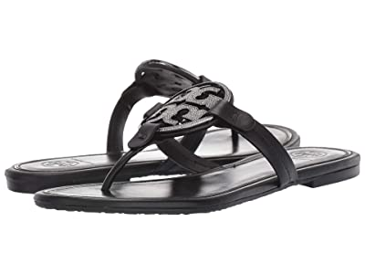Tory Burch Metal Miller Embellished Sandal (Perfect Black) Women