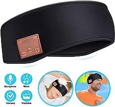 Sleep Headphones Bluetooth Headband, Wireless Bluetooth 5.0 Headset Unisex Sports Headband Headphones, Music Sweatband for Workout, Jogging, Yoga, Insomnia, Air Travel (Black)