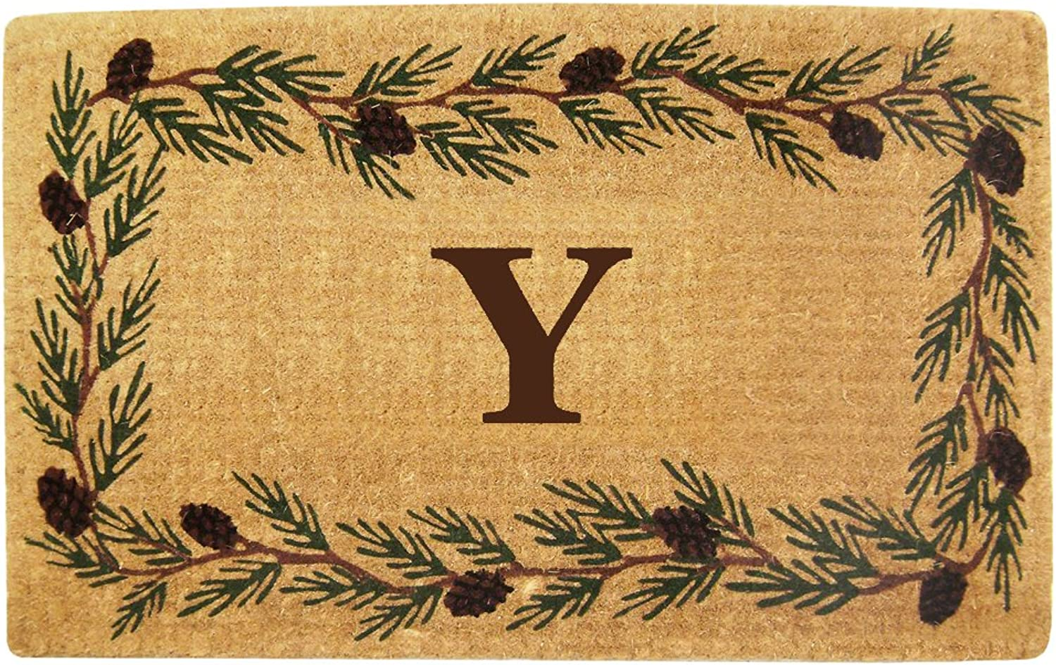Nedia Home Heavy Duty Coco Mat with Evergreen Border, 30 by 48-Inch, Monogrammed Y