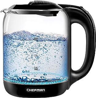 کتری چای شیشه ای برقی Chefman 1.7 لیتری با یک لمس آسان عملکرد دیگ بخار آب گرم گرم ، از پایه مفصل گردنده برای ریختن بی سیم ، BPA رایگان ، خاموش کردن اتومبیل ، ظرفیت 7 فنجان جدا می شود ،
