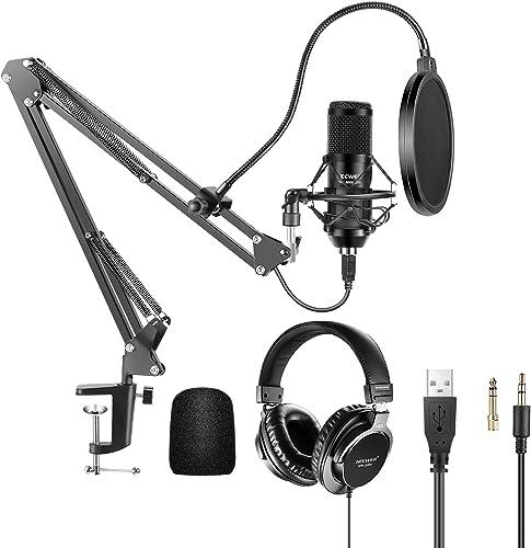 Neewer USB Kit de Microphone à Condensateur Cardioïde Plug & Play 192 kHz/24 Bits avec Casque d'Écoute, Capuchon en M...