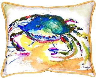 "Betsy Drake SN263 Green Crab Small Indoor/Outdoor Pillow, 11"" x14"""