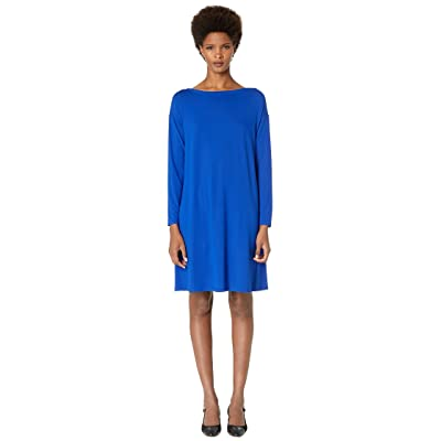 Eileen Fisher Bateau Neck K/L Dress (Royal) Women