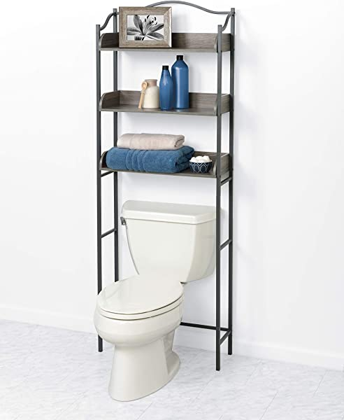 Zenna Home 3 Tier Over The Toilet Bathroom Spacesaver Driftwood Gray Pewter