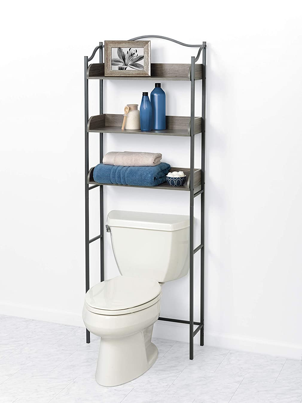 Zenna Home 3-Tier Over-The-Toilet Bathroom Spacesaver, Driftwood Gray/Pewter